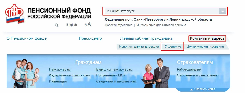 Пенсионный фонд Невского района СПБ официальный сайт
