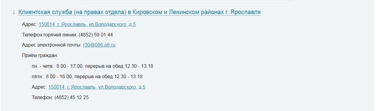 Пенсионный фонд Ярославль официальный сайт