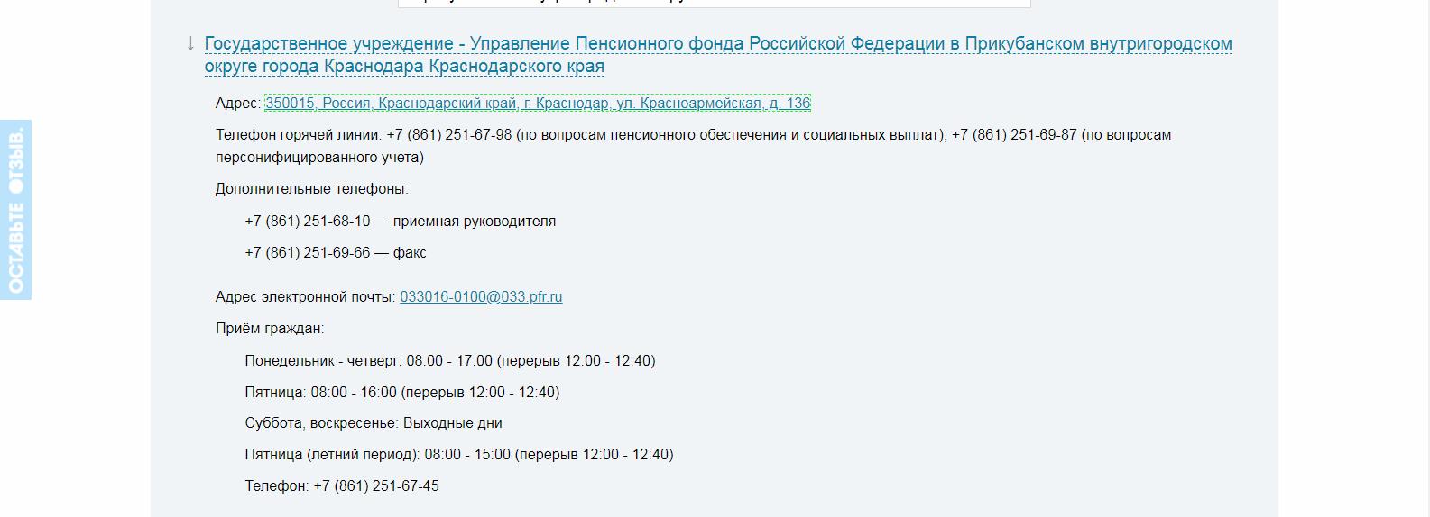 Пенсионный фонд Прикубанского округа Краснодара